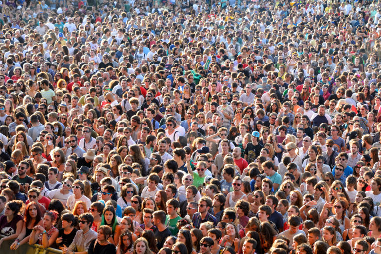 crowds of people at a music festival