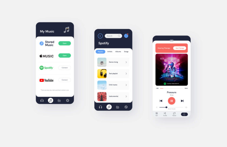 AudioCardio music player app screens