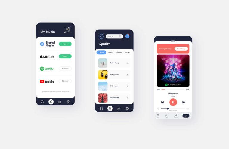 AudioCardio music player app screens