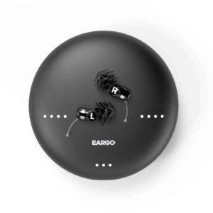 black Eargo Neo Hifi hearing aids with case