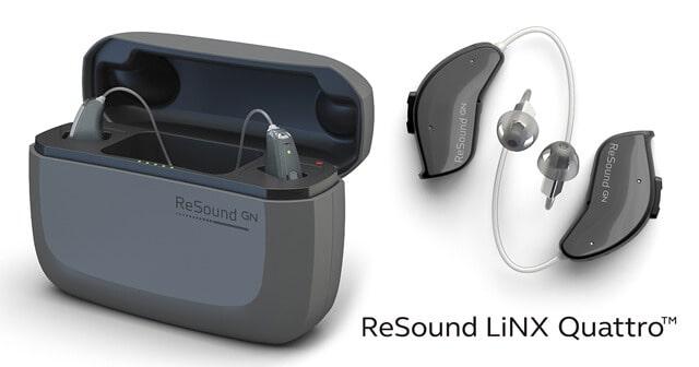 ReSound LiNX Quattro hearing aids with case