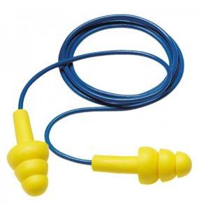 yellow pre-molded earplugs