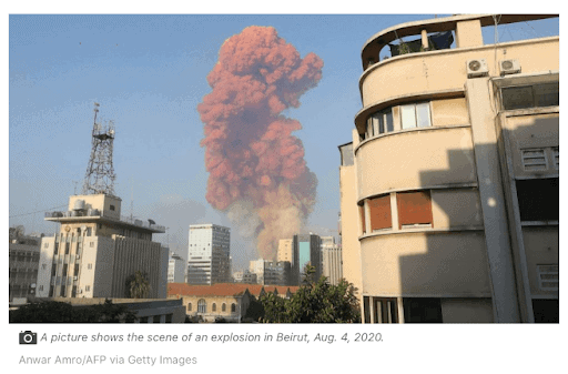orange smoke from Beirut warehouse explosion