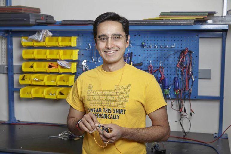 Professor Saad Bhamla with 3D printed hearing aids