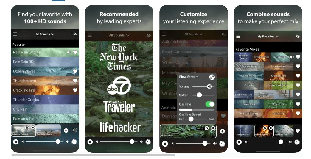 rain rain sleep sounds app screens