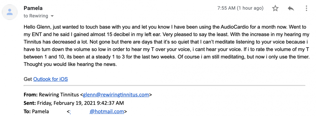 A screenshot of an email offering positive feedback after using AudioCardio.